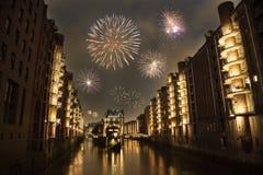 De vooravond van het nieuwjaar in Speicherstadt royalty-vrije stock afbeelding