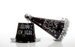 De vooravondhoed van het zwarte nieuwe jaar op wit Stock Foto's