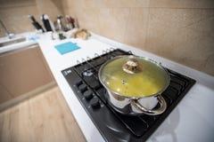 De voorbereide heerlijke deegwaren van het dinervoedsel of de soep of de hutspot in grote staalpan, koelen onder deksel, tribune  royalty-vrije stock fotografie