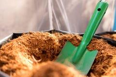 De voorbereiding voor het planten van de installatie door gebruiksschop graaft binnen het gat Royalty-vrije Stock Foto's