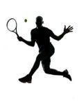De voordelige positie van de het tennisspeler van de mens Royalty-vrije Stock Afbeeldingen