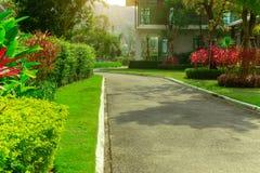 De voorgazonyard in een mooie tuin en een grijze weg met groen en rood gaat shurb van huis het modelleren weg royalty-vrije stock foto