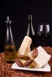 De voorgerechten van de wijn en van de kaas Stock Foto's