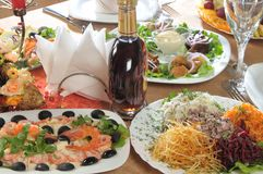 De voorgerechten van het restaurant Stock Foto's