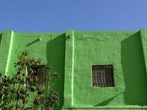 De voorgevel met venster schilderde groen stock fotografie