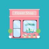 De voorgevel van de bloemwinkel Vectorillustratie van de bouw van de bloemwinkel Stock Afbeeldingen