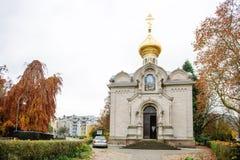 De voorgevel van de Russische Orthodoxe Kerk in stad van baden-bood Stock Afbeelding