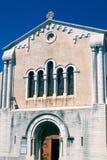 De voorgevel van een middeleeuwse kerk in villeneuve-DE-Berg Royalty-vrije Stock Foto's