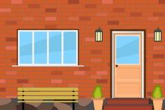 De voorgevel van het huis met een deur en een venster Royalty-vrije Stock Foto's