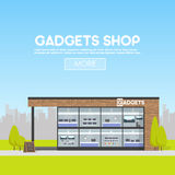 De voorgevelgadgets winkelen in de stedelijke ruimte, de verkoop van computers, laptops, telefoons, tabletten Aanplakbord die adv royalty-vrije illustratie
