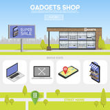 De voorgevelgadgets winkelen in de stedelijke ruimte, de verkoop van computers, laptops, telefoons, tabletten Aanplakbord die adv vector illustratie