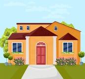 De voorgevelvector van de huisarchitectuur Kleurrijke illlustrations van de beeldverhaalstijl stock illustratie