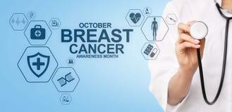 De voorlichtingsmaand oktober van borstkanker Medisch en gezondheidszorgconcept op het scherm vector illustratie
