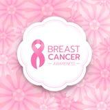 De de Voorlichtingstekst van borstkanker en het roze lint ondertekenen in witte cirkelbanner op abstract roze bloem vectorontwerp stock illustratie
