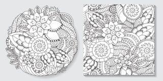 De voorraadhand trekt reeks van bloemachtergrond en naadloos klopje stock foto