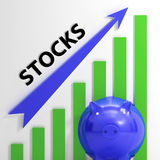 De voorradengrafiek toont Stijging van Waarde van Aandelen Stock Fotografie