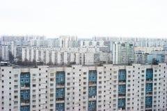 De voorsteden van Moskou van vogel-oog mening Stock Foto's