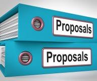 De voorstellenomslagen betekenen voorstellend Businessplan Royalty-vrije Stock Afbeeldingen