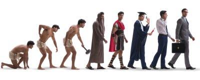 De vooruitgang van mensenmensheid van oud tot modern stock afbeelding