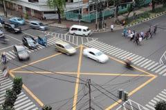 De voorwaarde van het straatverkeer van een verbinding in Djakarta, foto genomen F Stock Foto
