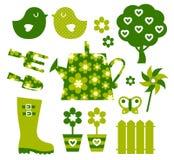 De voorwerpen en de elementen van de tuin Stock Foto's
