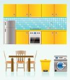 De voorwerpen, het meubilair en de apparatuur van de keuken Stock Afbeeldingen