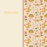 De voorwerpen van de herfst De kaart van thanksgiving day met pompoen op de witte achtergrond Seizoengebonden textuur Gebruik als Stock Foto's