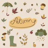 De voorwerpen van de herfst De kaart van thanksgiving day met pompoen op de witte achtergrond Seizoengebonden voorwerpen Stock Afbeeldingen