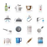 De voorwerpen van de keuken en toebehorenpictogrammen Stock Afbeeldingen