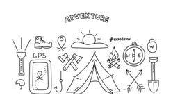 De voorwerpen van de lijnstijl voor avontuur en reis Vector illustratie Stock Foto