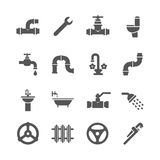 De voorwerpen van de loodgieterswerkdienst, hulpmiddelen, badkamers, sanitaire techniek vectorpictogrammen Stock Afbeeldingen