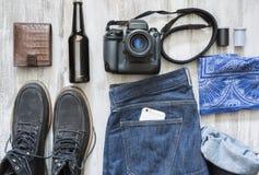 De voorwerpen van een filmfotograaf stock fotografie