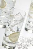 De voorwerpen van glazen met sodawater en ijsblokjes Stock Foto's