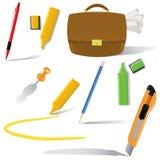De voorwerpen van het bureau in gebruiksreeks Royalty-vrije Stock Afbeelding