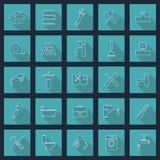 De voorwerpen van het loodgieterswerk en hulpmiddelenpictogrammen vector illustratie