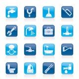 De voorwerpen van het loodgieterswerk en hulpmiddelenpictogrammen Stock Foto