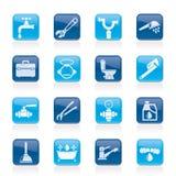 De voorwerpen van het loodgieterswerk en hulpmiddelenpictogrammen royalty-vrije illustratie