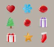 De Voorwerpen van het Pictogram van Kerstmis Royalty-vrije Stock Foto