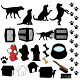 De Voorwerpen van het Silhouet van de Hond van het huisdier Royalty-vrije Stock Afbeelding