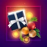 De voorwerpen van de Kerstmisdecoratie en giftdoos met magische lichten Stock Foto's