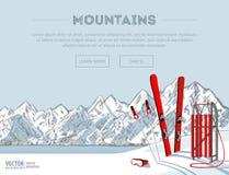 De voorwerpen van de de wintersport Rode houten slee en ski Bergen in wintertijd Het seizoen van de skitoevlucht is open De banne stock illustratie
