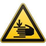 De voorzichtigheid, handen kan worden verwond De aandacht is gevaarlijk Meer ondertekent in mijn portefeuille Veiligheidsmaatrege stock illustratie