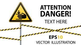 De voorzichtigheid, handen kan worden verwond Waarschuwingsbordveiligheid De aandacht is gevaarlijk gele driehoek met zwart beeld royalty-vrije illustratie
