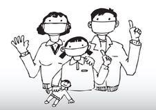 De voorzichtigheid van de familie van griep Stock Foto