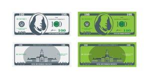 De voorzijde en de rug van het honderd dollarbankbiljet Vlakke illustratie eps10 stock illustratie