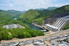 De voorzijde van de Generator van de elektriciteit van de Dam van Sri Nakharin Stock Afbeelding