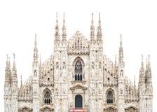 De voorzijde van de Koepel van de Kathedraal van Milaan isoleerde wit. Italië Royalty-vrije Stock Afbeeldingen