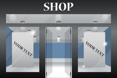 De Voorzijde van de winkel Buiten horizontale vensters leeg voor uw presentatie of ontwerp van het opslagproduct Eps10 Vector Royalty-vrije Stock Foto