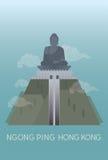 De voorzijde van grote Bhudda in Ngong pingelt Royalty-vrije Stock Foto