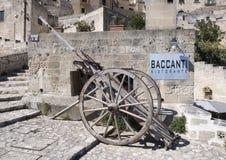 De voorzijde van het holrestaurant, Baccanti Ristorante in Matera, Italië Royalty-vrije Stock Foto's